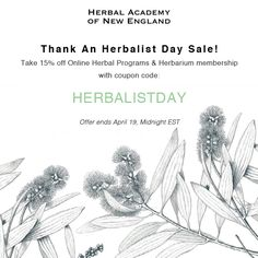 Herbalist Day Coupon - 15% off Herbal Academy programs!