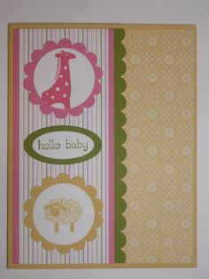 HELLO BABY Stampin Up Baby Girl card by MadmBlueberry on Etsy, $2.00