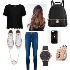 A fashion look from February 2016 featuring Topshop t-shirts, Frame Denim jeans and Converse sneakers. Browse and shop related looks. Casual School Outfits, Back To School Outfits, Girl Outfits, Cute Outfits, Fashion Outfits, Womens Fashion, Fasion, Casual Chic, Topshop T Shirts