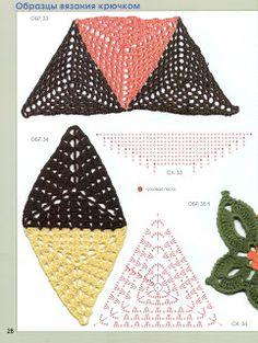 SOLO PUNTOS: crochet círculos, pentagonal, triangulos Crochet Triangle, Crochet Butterfly, Crochet Squares, Crochet Granny, Crochet Flowers, Crochet Chart, Crochet Motif, Crochet Doilies, Crochet Stitches