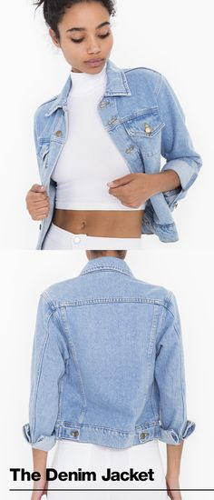 Our Favorite Denim Jacket  Our take on women's classic denim jacket features four outer pockets, two hidden inside pockets, front button closure and a bit of stretch for added comfort.