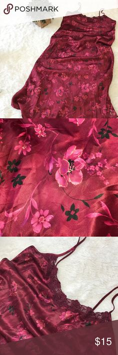 """Floral burgundy lingerie Pit to pit 19""""  46"""" from top to bottom  Floral design  Imported fabric  Made in Mexico  Adjustable straps  Clean  Bin 9 Dentelle Intimates & Sleepwear"""