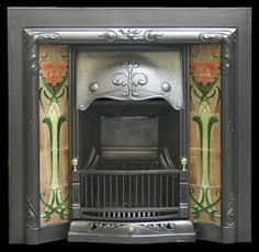Fine example of an antique Edwardian Art Nouveau cast iron and tiled insert with adjustable canopy. Complete with an exceptional set of antique Art Nouveau tile runs. Art Nouveau Architecture, Ceramic Tile Art, Art Nouveau Tiles, Cast Iron Fireplace, Art And Architecture, Ceramic Tiles, Tile Art, Fireplace, Victorian