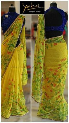Indian Jewellery and Clothing: Do you know about Yakshi , Banjara Hills ? If not please check it out.Its a designer store by Deepthi Reddy who is creating beautiful sarees Chiffon Saree, Saree Dress, Sari Blouse, Fancy Sarees, Party Wear Sarees, Indian Dresses, Indian Outfits, Simple Sarees, Indian Attire