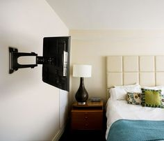 The Telehook TV wall mount offers an articulating arm and is a highly flexible wall mount for monitors and light weight TV's up to 55 lbs.