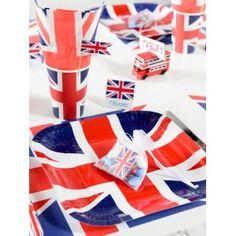 Assiette Angleterre drapeau anglais carton pas chère, Assiette Angleterre drapeau union jack ronde 23 cm les 10, assiette carton plate, art de table, vaisselle jetable, wedding, mariage, fêtes, anniversaire, Londres, london, table festive