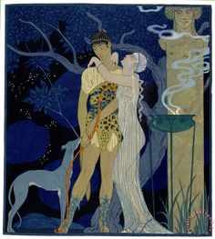 Venus And Adonis painting - Georges Barbier