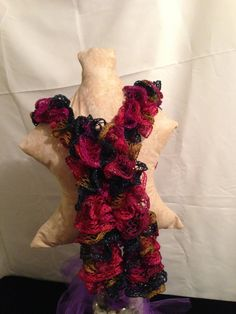 Ruffle Scarf  Red heart  Rumba by 1finedesign on Etsy, $16.00