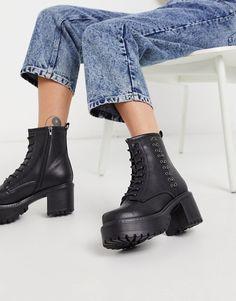 Koi Footwear – Necron – Vegane Ankle-Boots mit Metalldetail in Schwarz   ASOS