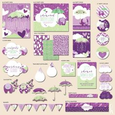"Instant Download - Showered With Love Baby Shower - ""The Hostess"" PRINTABLE Party Collection (Purple/Green)"