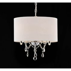 @Overstock.com - Indoor 3-light White/ Chrome Pendant Chandelier - Add this shaded pendant chandelier to a living or dining room for a touch of elegance. It provides a soft light to your dining room table with three 60-watt bulbs. The chrome and white finish makes the fixture look great with any color scheme.  http://www.overstock.com/Home-Garden/Indoor-3-light-White-Chrome-Pendant-Chandelier/7954592/product.html?CID=214117 $99.99