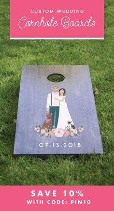 If you are planning the perfect outdoor wedding, corn hole boards are the perfect wedding reception game. And, these customized boards are a perfect keepsake for the couple after the wedding. Save 10% with code PIN10 at checkout!
