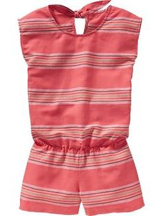 Girls Striped Linen-