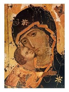 13 Jahrhundert: Madonna of Wladimir. Art Print, Canvas on Stretcher Byzantine Art, Byzantine Icons, Russian Icons, Russian Art, Orthodox Prayers, Fine Art Prints, Canvas Prints, Madonna And Child, Orthodox Icons