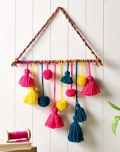 Colours light up your life. Order now Dm us for details Diy Crafts For Gifts, Diy Home Crafts, Diy Arts And Crafts, Creative Crafts, Yarn Wall Art, Wall Hanging Crafts, Diy Wall Decor, Pom Pom Crafts, Yarn Crafts