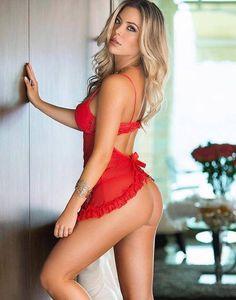 #fine #living #sexy #woman #blonde #sex #bomb #red #lingerie #underwear #perky #round #ass #butt #sensual #seductive #hottie #long #Blonde #hair #waves #slim #fit