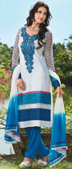 Off #White and #Blue Faux #Georgette #Trouser #Kameez with #Dupatta @ US $161.07