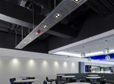Exposed ceiling in black with Cable tray (Black to hide) off which directional spot lights can be hung. Ceiling height approx 4800mm. & Gordon-Biersch Corporate Offices | Pinterest | Cable tray Trays and ...
