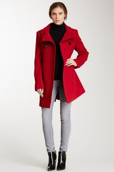 Double Breasted Stand-Up Collar Wool Blend Coat on HauteLook