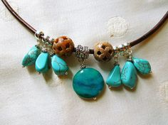 Brown leather 22 1/2 long necklace with turquoise