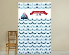 Personalized Nautical Waves Birthday Party Photo Backdrop