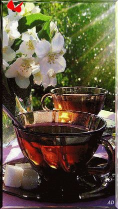 Blossoms and tea** Coffee Gif, Coffee Images, Coffee Love, Good Morning Greetings, Good Morning Good Night, Morning Pictures, Good Morning Images, Tea Gif, Coffee Artwork