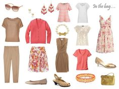 what to pack for a warm weather trip, in camel and rosy coral