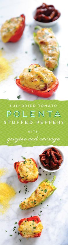 A delicious stuffed pepper recipe filled with buttery cheesy polenta featuring sweet sun-dried tomatoes and zesty Italian sauce. Perfect as an appetizer or hearty entrée.