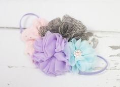 Precious Petite headband in aqua, lavender purple, baby pink and charcoal grey