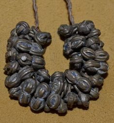 40 Antique Brass Interlocking Double Round Metal Dangle Beads Togo, West Africa