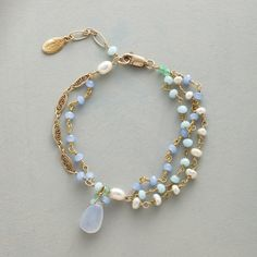 """LOVING THE BLUES BRACELET--Triple strands of blue chalcedony, amazonite, freshwater cultured pearls and aventurine, spaced by 14kt gold filled links, dangle a bright blue chalcedony drop. 14kt gold filled lobster clasp. Handmade exclusively for Sundance. 7"""" to 7-3/4""""L."""