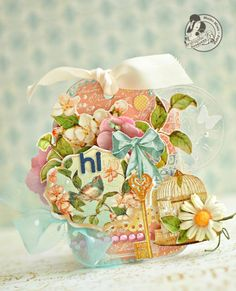 This is a pink tag with Secret Garden collection of Graphic45.