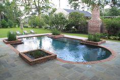 Grey Plaster pool, brick coping, bluestone paving Courtyard Pool, Front Courtyard, Pool Coping, Brick Paving, Bluestone Paving, Pergola Patio, Backyard, Pool Plaster, Pool Fountain