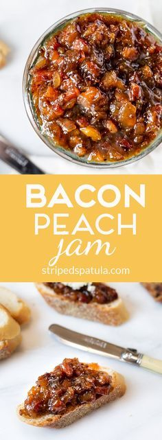 Bacon~Peach Jam - sweet, salty, and tangy; a luxurious condiment for hors d'oeuvres, grilled cheese, and burgers! Jelly Recipes, Bacon Recipes, Jam Recipes, Canning Recipes, Appetizer Recipes, Vegemite Recipes, Nutella Recipes, Bacon Jam, Candied Bacon