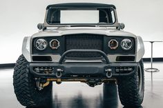 """The concept's """"Five-Quarter"""" name references its military designation as a one and a quarter tone vehicle. Jeep Jl, Jeep Concept, Concept Cars, Jeep Pickup Truck, Sheet Metal Work, 4x4, Custom Jeep, Jeep Patriot, Cars"""