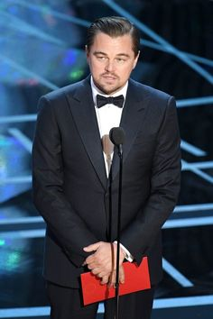 Here's Leo during the 89th Annual Academy Awards before giving Emma Stone the award for Best Actress.