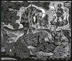 Artemio Rodriguez. Saint George's Death. 2007. Woodcut. Edition IX/IX. 23 x 27 inches. $1000