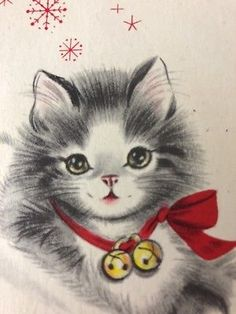 Vintage Christmas Card Darling Kitten In Red Flocked Santa Hat Mid Century Used