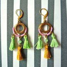 Boho tassel earrings ref.214-5-2 - drop & dangle earrings - golden earrings - fashion earrings - gift for her by carlaamaro on Etsy