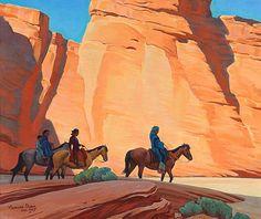 Navajos in a Canyon by Maynard Dixon,