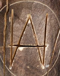 Carved with Love- Hillary+Aaron  Friends of the happy couple loved their custom monogram so much they carved it into a tree near the bar.