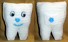 Crochet Tooth Fairy Pillows by HazelCrochet on Etsy Tooth Fairy Pillow, Crochet Crafts, Teeth, Dinosaur Stuffed Animal, Pillows, Toys, Animals, Animales, Animaux