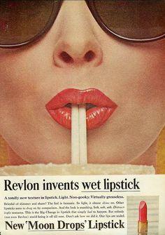 Retro Makeup Revlon wet lipstick c 1965 - From Mademoiselle, August 1965 Vintage Makeup Ads, Retro Makeup, Vintage Beauty, Vintage Ads, Vintage Posters, 80s Makeup, Vintage Trends, Vintage Cameras, Vintage Stuff