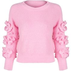 Pink Frill Embellished Fluffy Knitted Sweater ($41) ❤ liked on Polyvore featuring tops, sweaters, flutter-sleeve top, ruffle trim sweater, frilly tops, round top and long tops