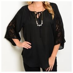 "Hello Boho Crochet sleeve Tunic Black tunic with tie at bust and crochet bell sleeves. Pair with the ""Hello Holidays"" leggings in my closet for a holiday fab outfit!!! PLEASE DO NOT PURCHASE THIS LISTING.  Just comment your size & I will create one especially for you! Tops Tunics"