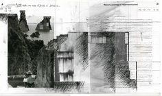 Beniamino Servino. About the representation of the landscape. ... Uomo che dipinge le case sui faraglioni di Capri, fuori dalla sua casa di fronte ai faraglioni. ... Man who paints houses [that stand] over the faraglioni of Capri, outside his house [that stands] in front of the faraglioni. ... [Cm 28,2 x cm 50,2. Penna a gel di inchiostro su pagine di un libro. Nastro adesivo di alluminio e scotch].