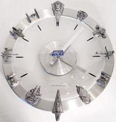 DIY Star Wars starships and fighters clock. Instead of buying it, this would be extremely easy to make yourself.