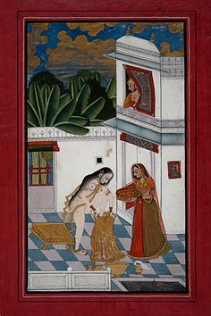 Hero enjoying the bathing beauty. c.1770. Kotah, India. National Museum - New Delhi