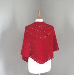 Women's Shawl Wrap Crochet Shawl Scarlet Red Cotton & by Girlpower