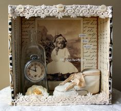 For your consideration... Little Miss Muffet Shadow Box This sweet little shrine has been lovingly created by hand. The altered cigar box measures 7 1/4 inches wide x 7 1/4 inches inches tall. The sides are approximately 3 inches deep. It has been given a shabby distressed look. The sides of the box have been covered with a beautiful sheet music pattern paper and inside script pattern paper. Inside is you will find OODLES of vintage treasures. An old baby shoe, vintage lace, mother of p...